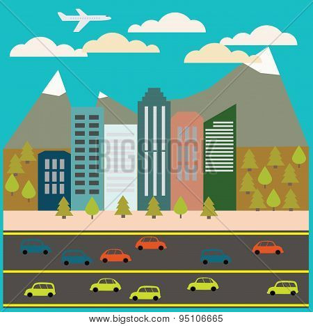 View Of The City In Style Flat, Vector Illustration.