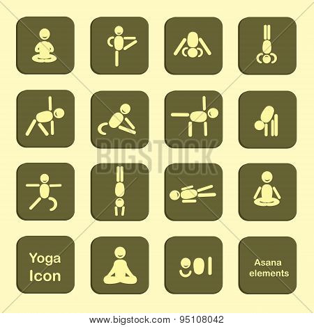 Set Of Icons. Poses Yoga Asanas. Vector