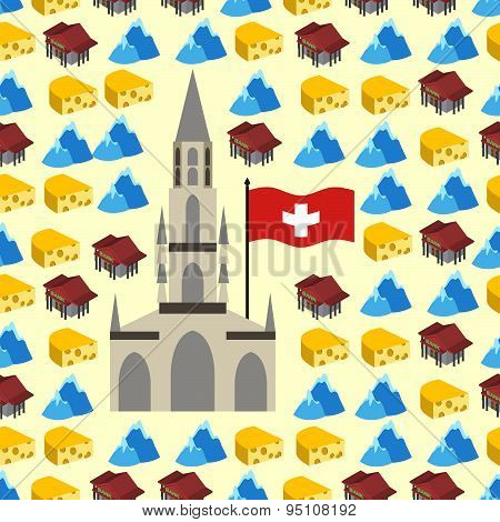 Switzerland seamless pattern of symbols of country. Banks and Alps, cheese and Bern Cathedral. Vecto