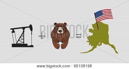 Oil rig and  bear. Symbols of Alaska. American flag. Vector illustration