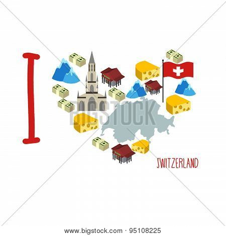 I love Switzerland. Symbol heart of cheese and Alps, Bank and money. Map of Switzerland. Logtip tour