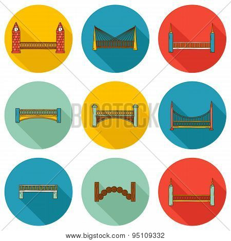 Set of simple cute cartoon colorful hand drawn bridge icons with shadows. City and travel concept