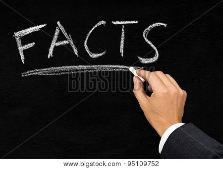 'facts' Written On Blackboard By Businessman