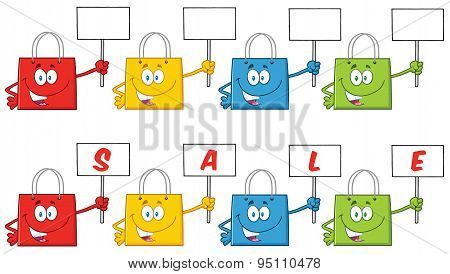 Shopping Bags Cartoon Character . Collection