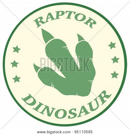 Dinosaur Paw Print Circle Label With Text