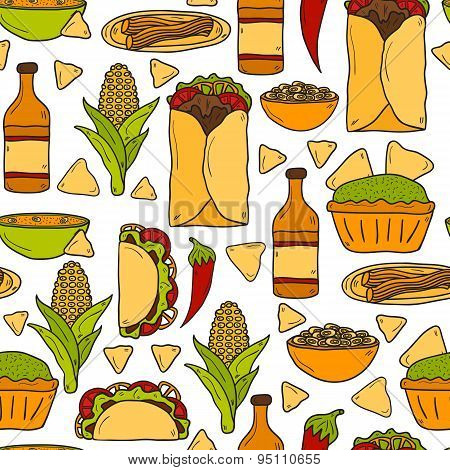 Seamless background with cute cartoon hand drawn objects on mexican food theme: chili, taco. tobacco