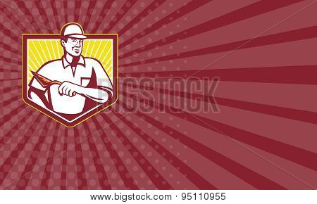 Business Card Tiler Plasterer Mason Masonry Worker Retro