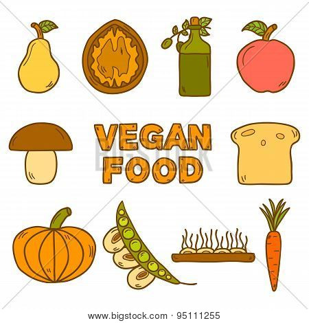 Set of modern icons in hand drawn style on vegan food theme