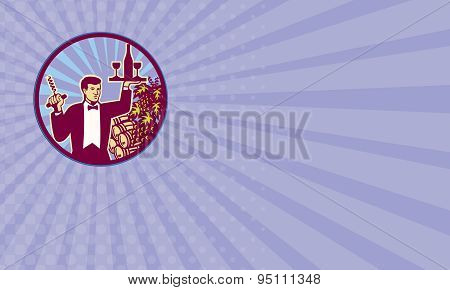 Business Card Waiter Serving Wine Glass Bottle Retro