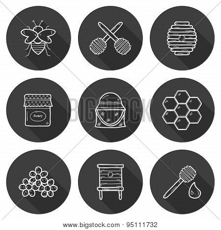 Set of cute cartoon hand drawn icons on beekeeping theme: bee, honey, flowers, hat, bee spoon, beehi