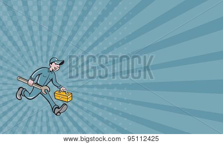 Business Card Mechanic Carrying Toolbox Spanner Isolated Cartoon