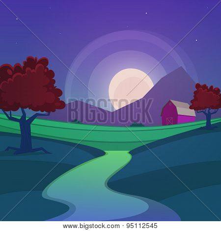 Night Farm Landscape