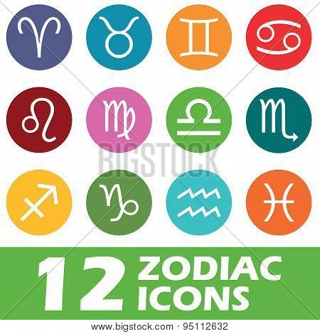 Colored round zodiac icon set
