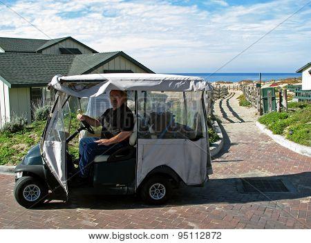 MONTEREY BAY BEACH, CA - NOVEMBER 15:  Man in Golf Cart at the Sanctuary Beach Resort  2012