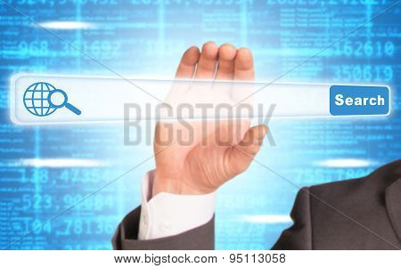 Businessmans hand holding browser