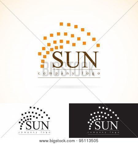 Company Identity Vector Logo Design Mock Up Template Set. Abstract Geometry Concept Sunrays Radiance