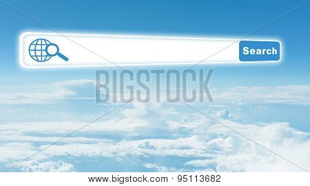 Blue sky with clouds and browser