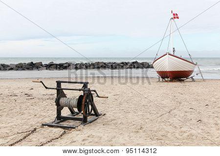 Fishing boat on the beach in Lonstrup, Denmark