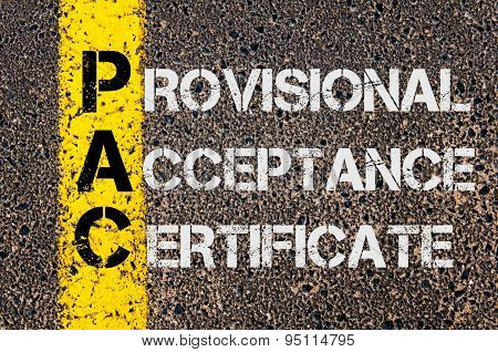 Business Acronym Pac As Provisional Acceptance Certificate