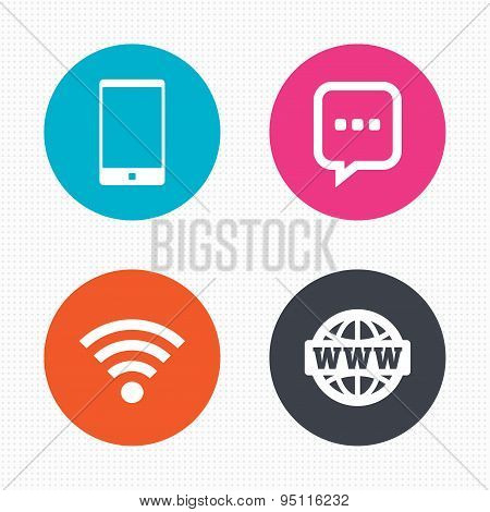 Communication icons. Smartphone and chat bubble.