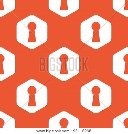 Orange hexagon keyhole pattern