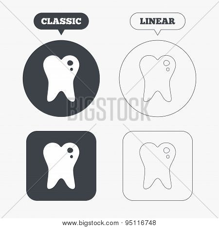 Caries tooth sign icon. Dental care symbol.