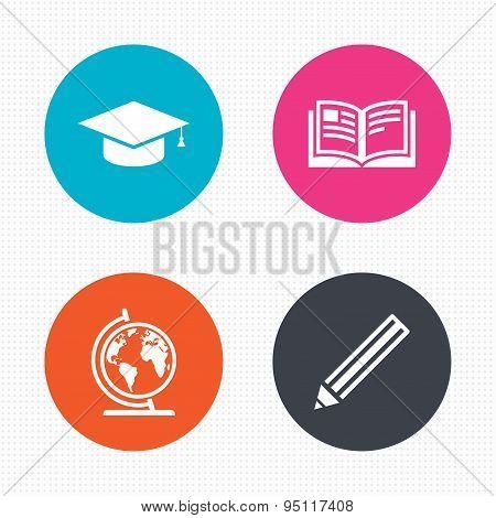 Pencil and open book signs. Graduation cap icon.