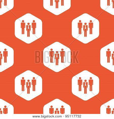 Orange hexagon work team pattern