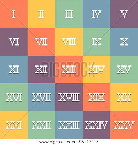 8-bit Pixel Art Roman Numerals 1-25. Eps10 Vector