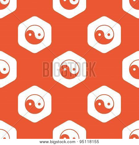 Orange hexagon ying yang pattern