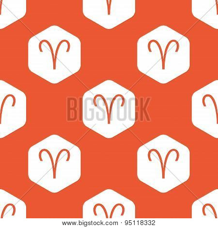 Orange hexagon Aries pattern