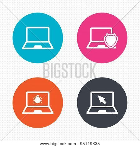 Notebook laptop pc icons. Virus or software bug.