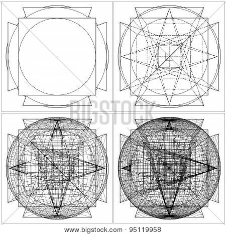 Geometric Intersection Of Sphere And Six Pyramids Vector