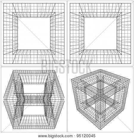 Geometric Sliced Cube Box Vec...