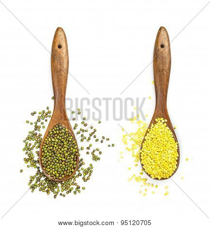 Mung Beans In Wooden Spoon Isolated On White