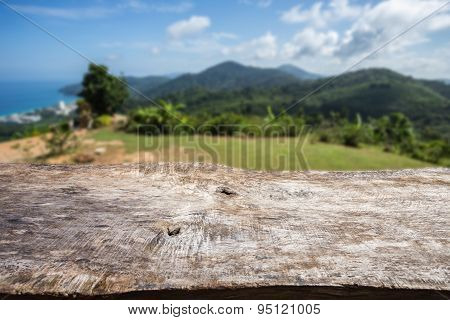 Old Wood Table Top And View Of Ocean