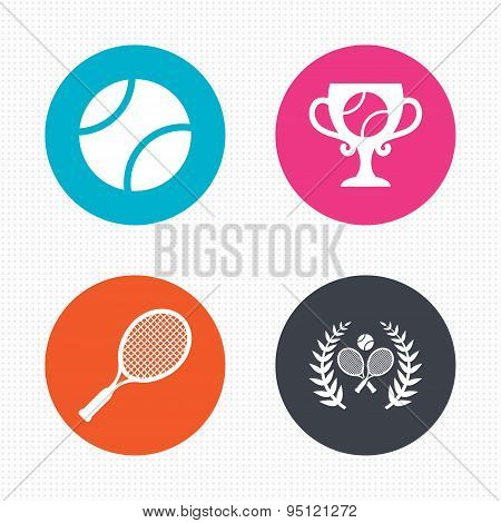 Tennis ball and rackets icons. Laurel wreath.