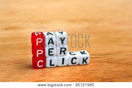 Ppc Pay Per Click Dices On Wood