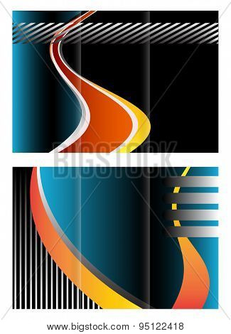 Vector modern tri-fold brochure design template with background