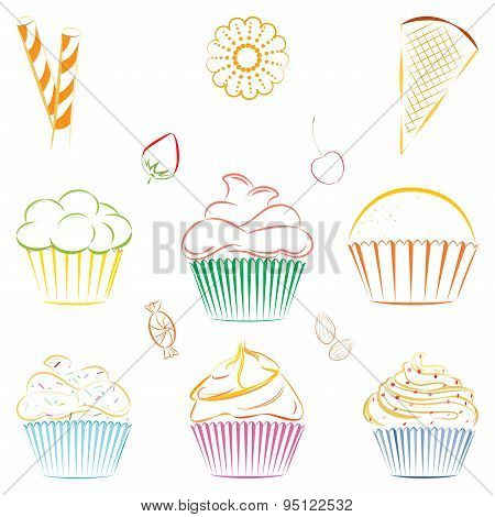 Set of vector cupcakes and sweets. Outline