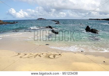 Djeu Written On White Sand Beach