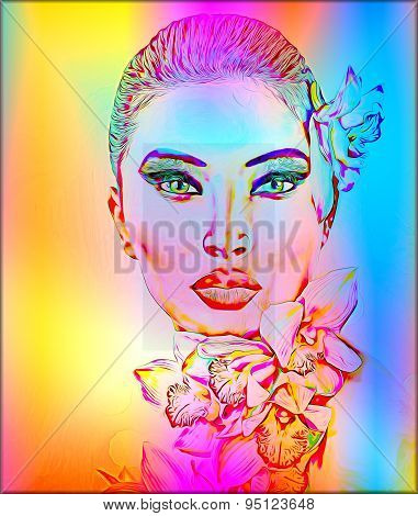 Beautiful Girl With Orchid Flowers. Abstract digital art of floral and woman's face combined in a co