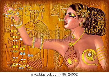 Egyptian princess adorned in gold jewelry and gems. Digital art fantasy scene.