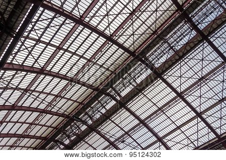 Antwerp, Belgium - May 10, 2015: Roof Iron Structure  of Antwerp Central station