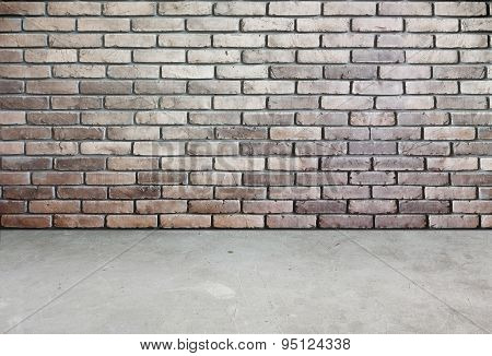 Room Perspective,brick Wall And Cement Ground,grunge