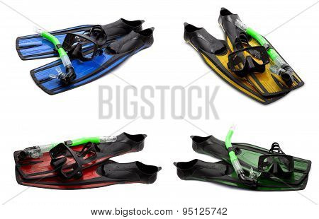 Set Of Multicolor Swim Fins, Mask And Snorkel For Diving On White Background