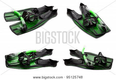 Set Of Green Swim Fins, Mask And Snorkel For Diving On White Background
