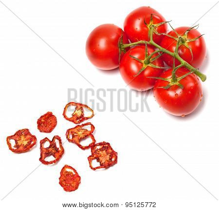 Fresh Ripe And Dried Tomatoes Slices