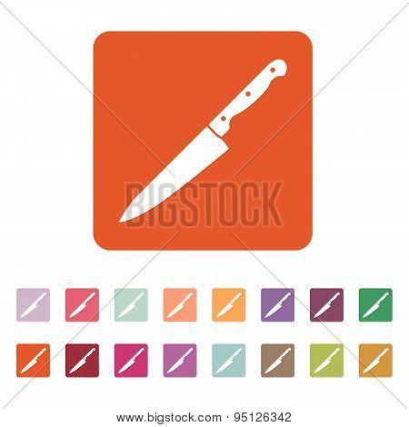 The Knife Icon. Chopper Knife Symbol. Flat