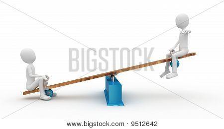 3D Mann mit Wippe